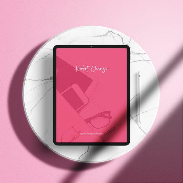 Habit Change Workbook displayed on an ipad