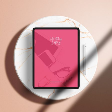 flatlay mockup of the Healthy Eating Workbook on ipad